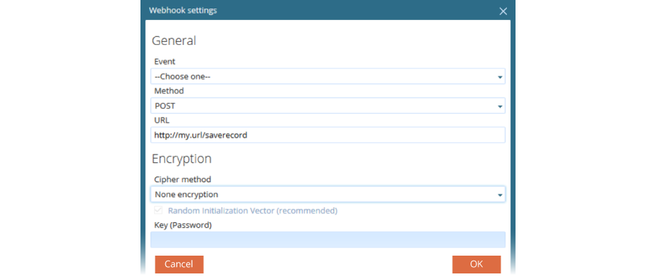 VCC Live Desk Webhook Settings Screenshot