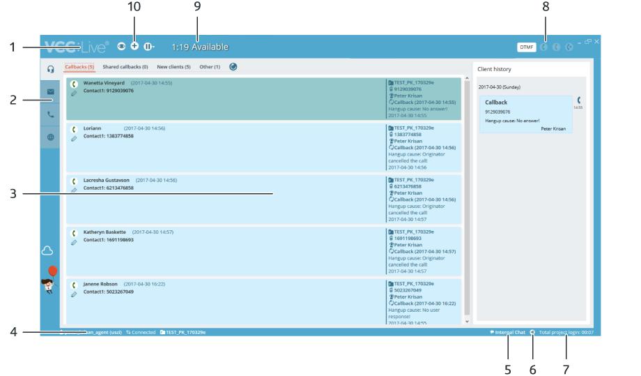 VCC Live Desk Agent Workspace Overview Screenshot